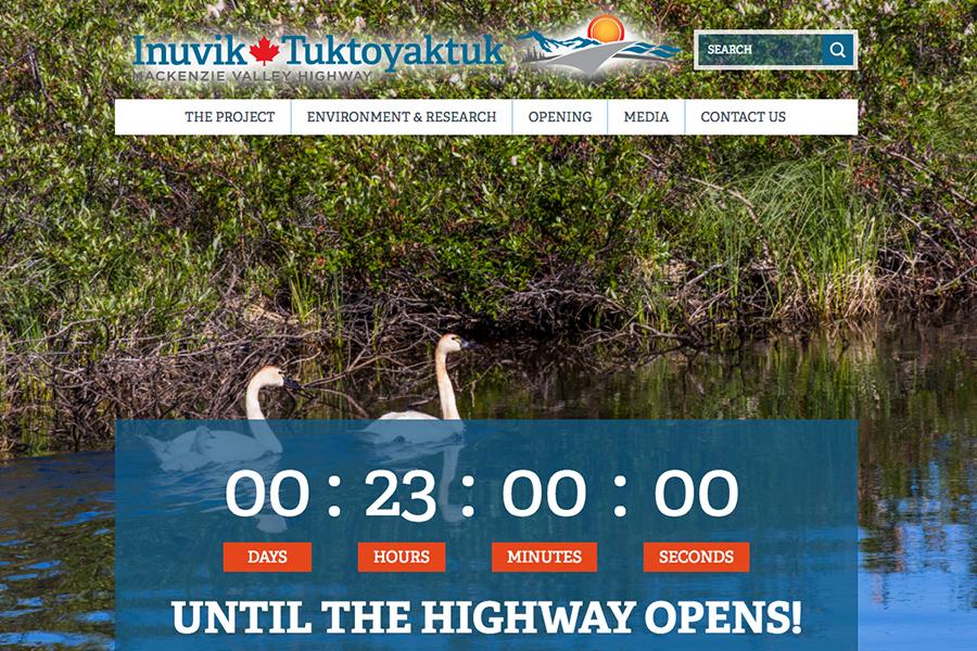 在伊努維克-圖克亞圖克高速公路官方網頁上,有一個倒數計時器,顯示高速公路即將在本港時間明日(15日)上午11時30分開通。(加拿大西北地區政府網頁擷圖)