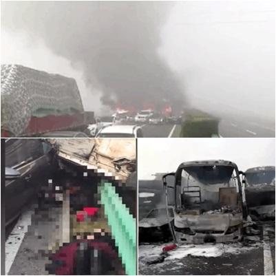G63高速往合肥方向發生三十餘輛車連環撞,現場慘烈,已有18人死亡,重傷人數尚不清楚。(視像擷圖)