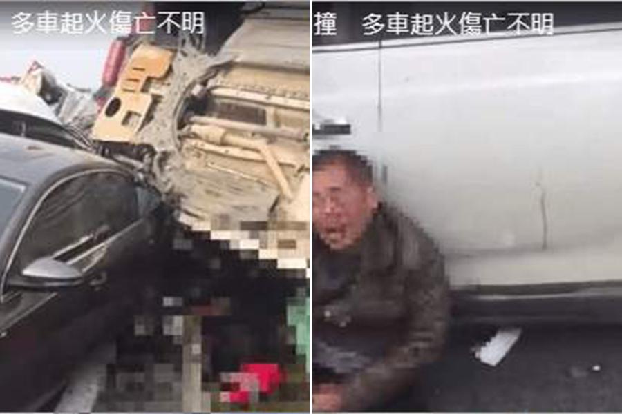 左:慘烈的車禍現場;右:有受傷的男子癱軟坐在地上。(視像擷圖)