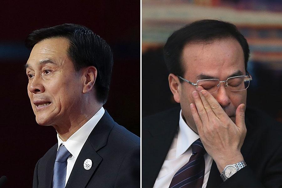有消息說,其實,王歧山查楊晶(左)和查孫政才(右)差不多是在同一時段開始,但由於孫政才的「政治腐敗」要急於先處理。(Feng Li, Lintao Zhang/Pool/Getty Images/大紀元合成)