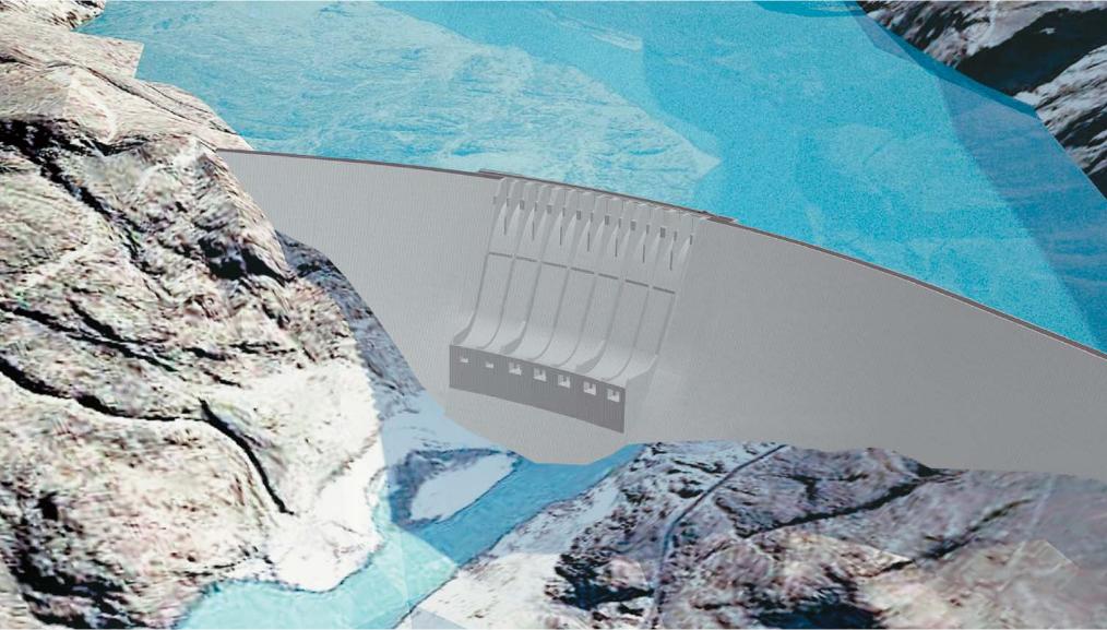圖為迪阿莫-巴沙大壩設計圖。(WAPDA, Pakistan Water & Power Development Authority)