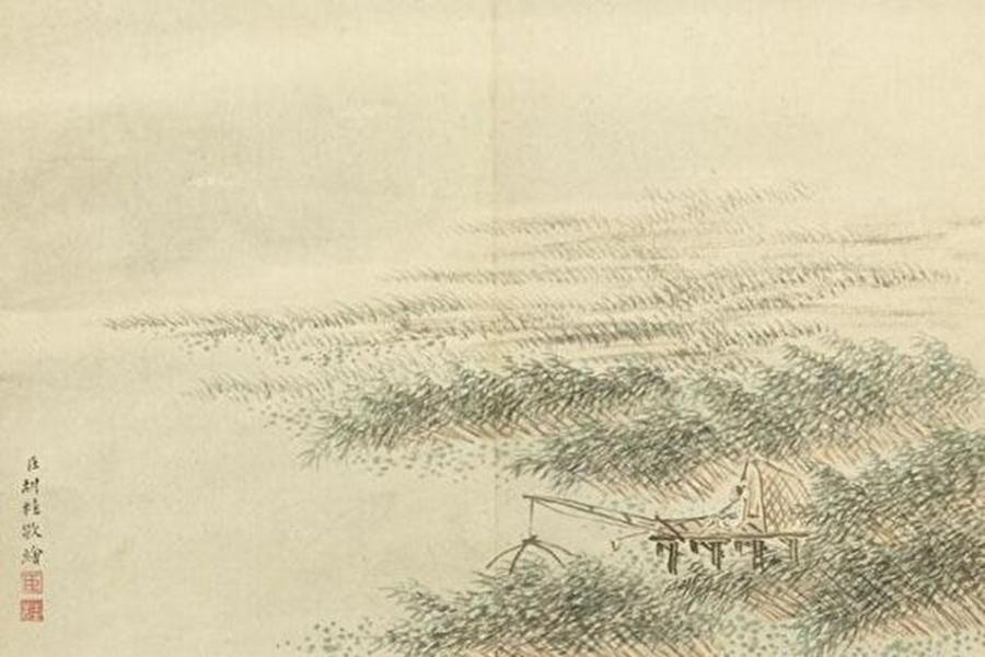 清 胡桂 蘆汀捕魚。(台北國立故宮博物院)