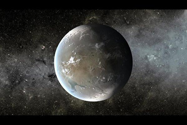開普勒-62F藝術概念圖,一個超級地球大小的行星,位於它的恆星的可居住區內。(NASA Ames/JPL-Caltech)