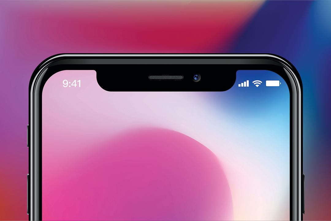 iPhone X的招牌瀏海設計。(Shutterstock)