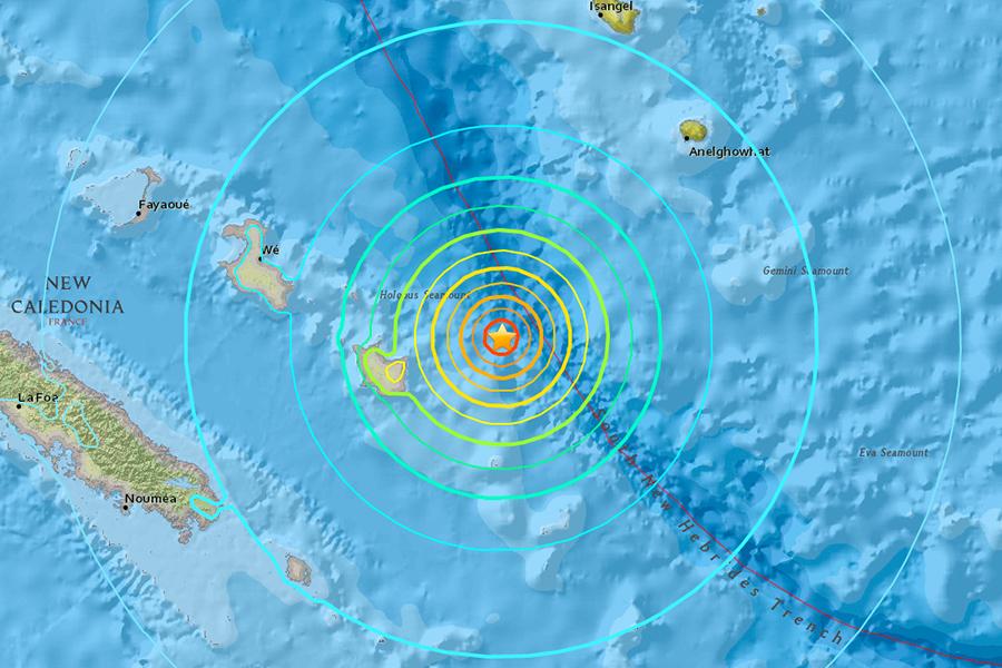 美國地質調查局(USGS)在本港時間今日上午6時43分錄得一次黎克特制7.0級強震,震央位於羅雅提群島(Loyalty Islands)以東82公里處,震源深度為10公里,屬極淺層地震。(USGS)