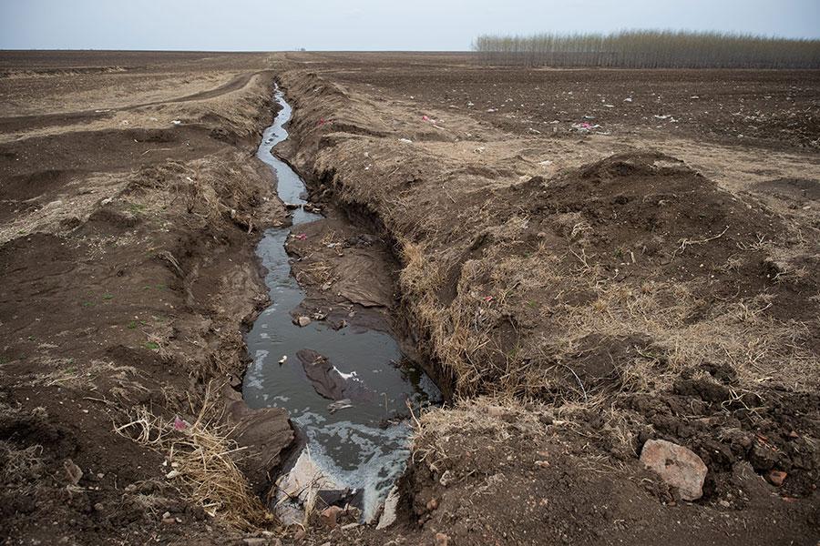 圖為2016年5月3日,黑龍江省甘南縣一家奶牛場向附近的田地排放污水。(NICOLAS ASFOURI/AFP/Getty Images)