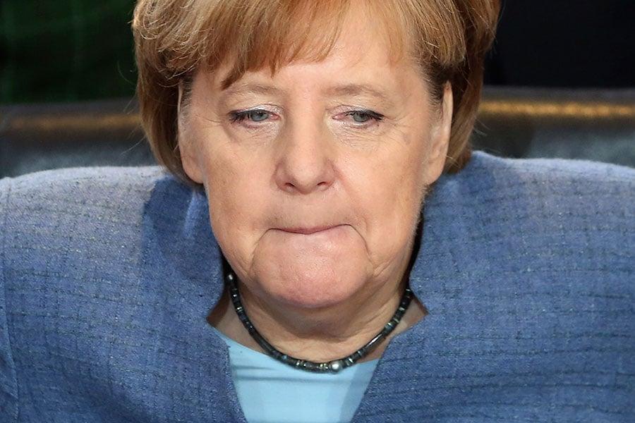 基民盟與另外兩黨合組聯合政府的談判破局,民意顯示近半數德國人贊成重新選舉。圖為總理默克爾。(ADAM BERRY/AFP/Getty Images)