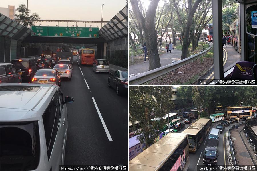 多位網民在Facebook群組上發佈的現場相片顯示,上水多條道路均出現長長的車龍。其中更有相片(右上)顯示疑為多位巴士乘客在塞車等候期間下車,自行離去。(Facebook用戶:Markson Chang、Siam Lai及Ken Liang)