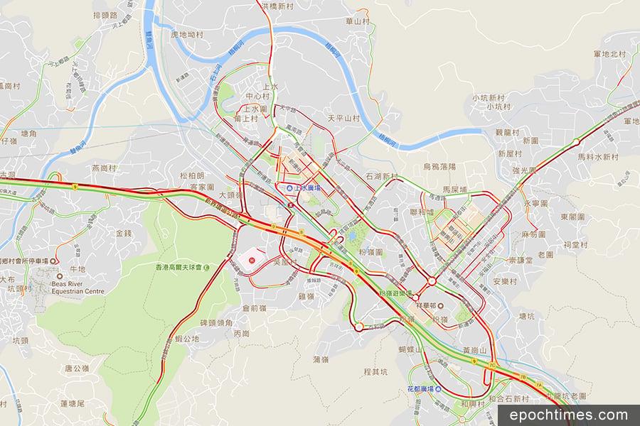 據Google地圖在下午6時41分的「即時路況」顯示,上水大部份道路均出現交通擠塞情況。(Google地圖)