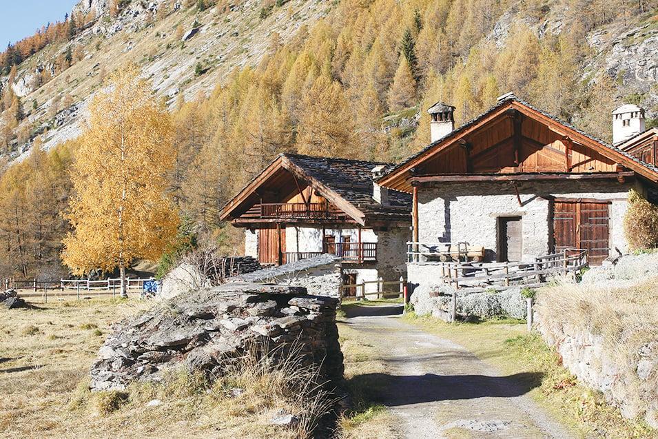 村中小屋是阿爾卑斯地區傳統的建築風格。(龔簡/大紀元)