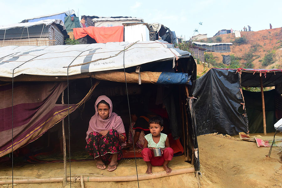 圖為在孟加拉的羅興亞難民。(MUNIR UZ ZAMAN/AFP/Getty Images)