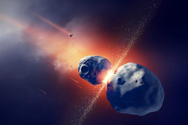 俄羅斯天文學家說,第3200號小行星將於12月與地球擦身而過。圖為兩顆小行星互相碰撞並發生爆炸的示意圖。(Fotolia)