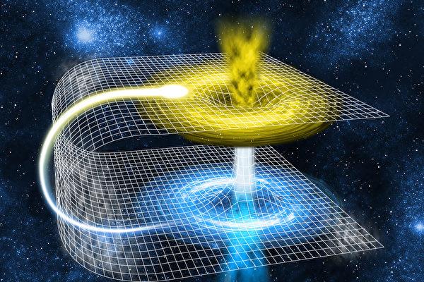 美國天體物理學家西格爾(Ethan Siegel)表示,時空旅行在技術上可行,但僅能回到過去。圖為可供時空旅行的蟲洞模擬圖。(Fotolia)