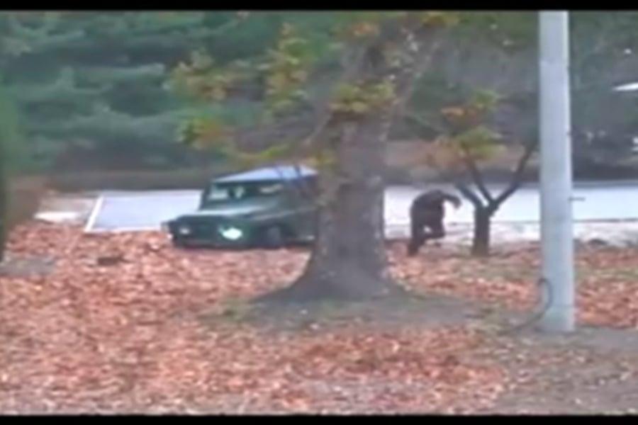 圖為一名北韓士兵上個月從兩韓軍事區投奔到南韓時的錄像畫面。(視像擷圖)