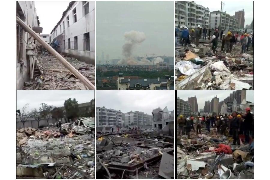 11月26日上午9時許,浙江寧波江北區李家西路突然發生爆炸,現場一片狼藉。(大紀元合成)