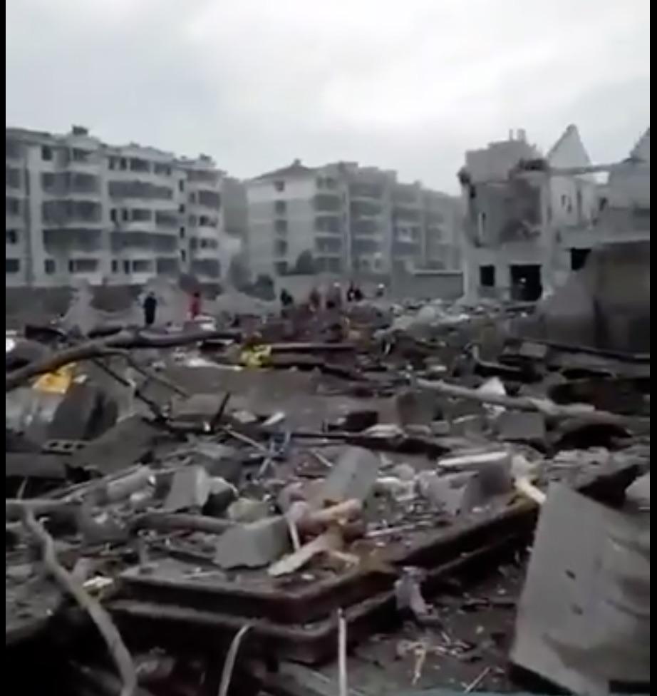 寧波突發爆炸,現場一片狼籍。(視像擷圖)