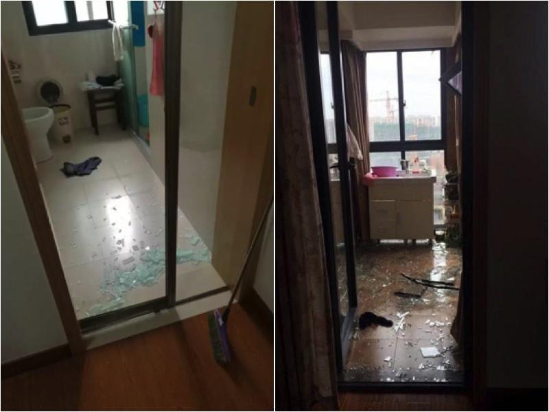 多家住戶窗玻璃被震碎。(網絡圖片)