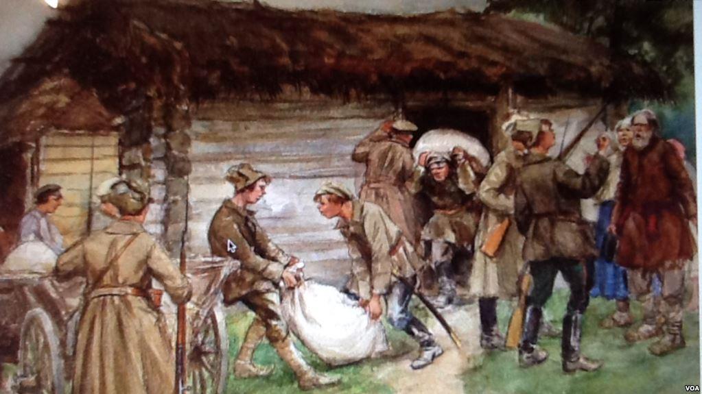 蘇聯畫家弗拉基米羅夫的繪畫反映了布爾什維克武裝人員十月革命後在農村徵集餘糧。弗拉基米羅夫十月革命後曾在聖彼得堡當過警察。(美國之音)