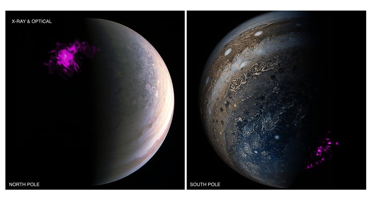 除了發現巨大的旋風風暴之外,朱諾還在木星的天空中觀測到強大的極光。左邊是北極極光,右邊是南極極光。(NASA)