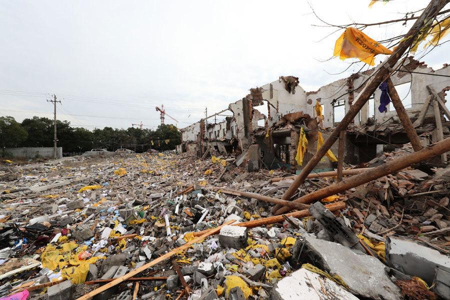 寧波爆炸現場殘垣斷壁 猶如戰後廢墟