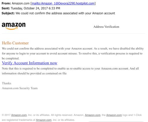 近日,有消費者收到假冒亞馬遜網的電郵。(更好商業署提供)