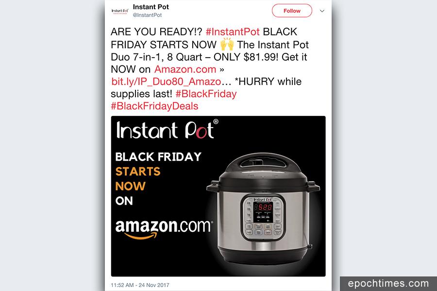 據GBH Insights估計,亞馬遜迄今為止在黑五在線銷售總額中佔近一半。Instant Pot DUO 8 Quart是一款七合一多功能可編程電高壓鍋,為亞馬遜最暢銷的產品之一。(推特擷圖)