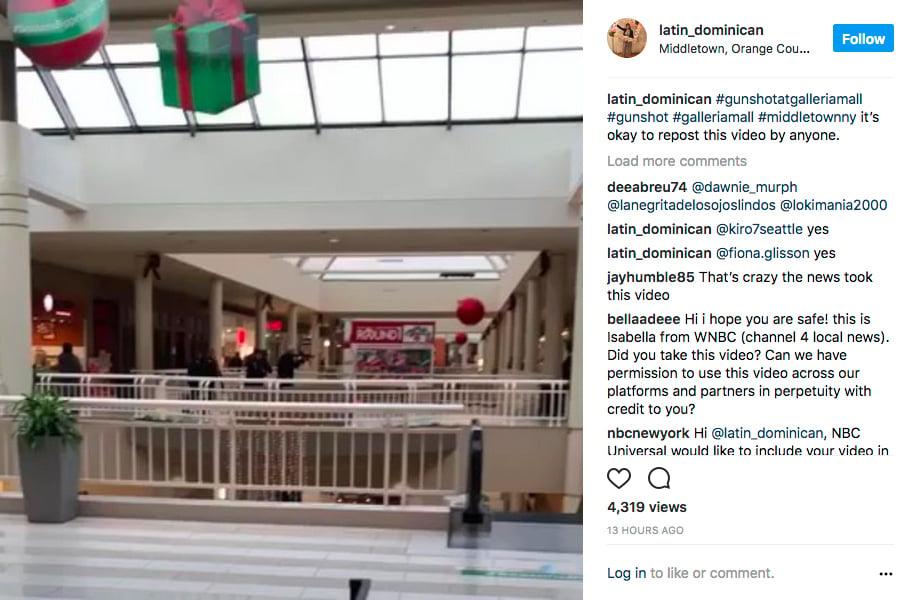 星期日(11月26日)下午3時左右,紐約上州米德爾敦市(Middletown)的大型購物商場Galleria at Crystal Run驚傳槍響,大批警力及數十輛警車據報趕到現場。(Latin_Dominican的Instagram視像擷圖)