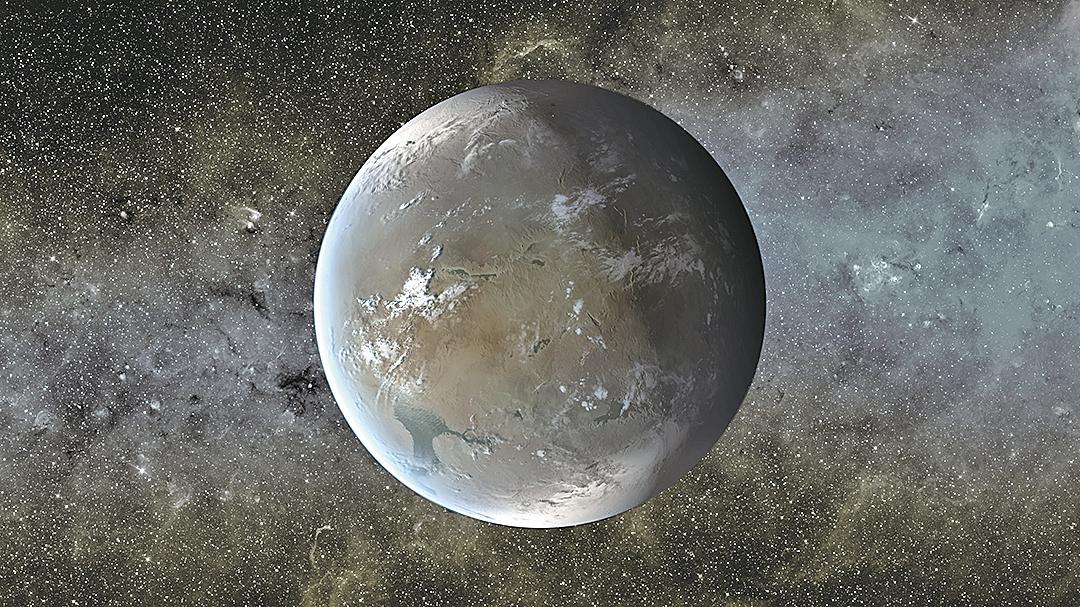開普勒-62F藝術概念圖,一個超級地球大小的行星,位於它的恆星的可居住區內。(NASA)
