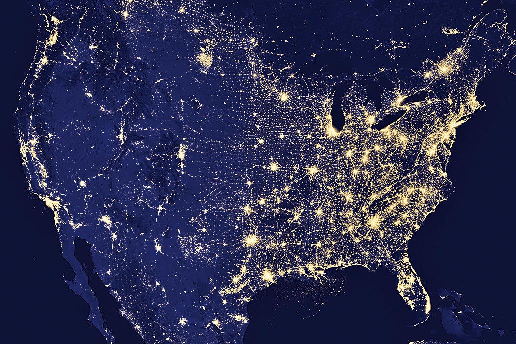衛星數據顯示地球各地夜晚越來越明亮。(NASA)
