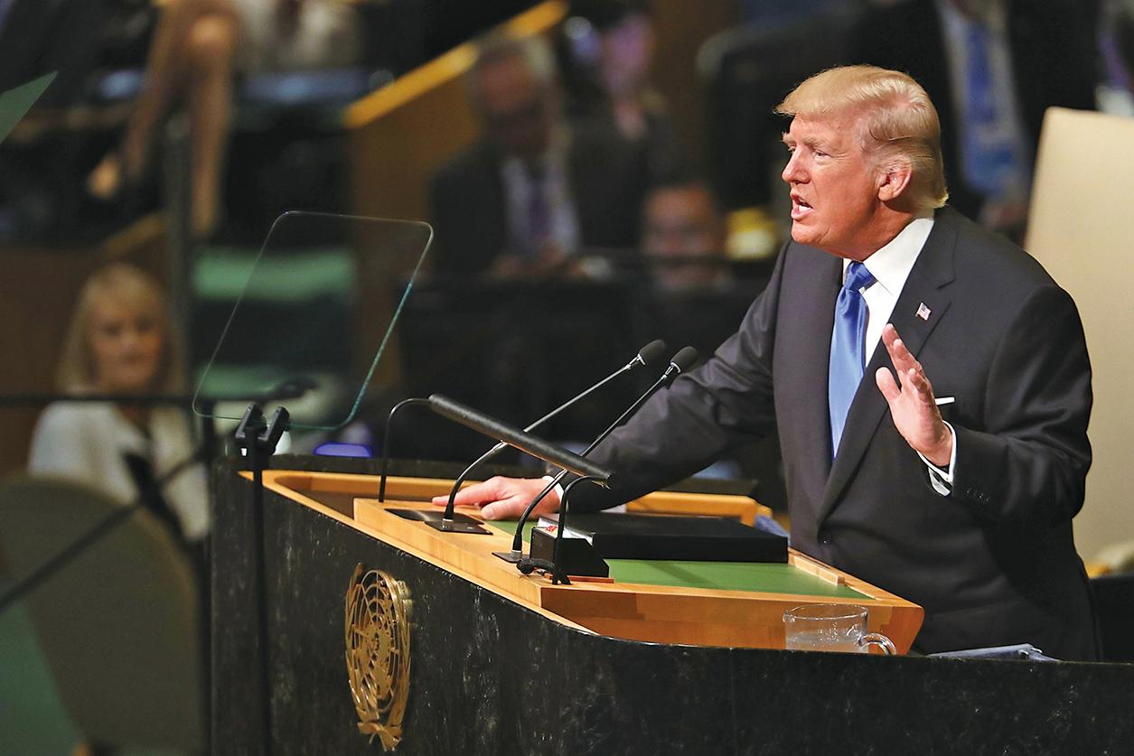 特朗普今年9月在聯大演講中表示,如果北韓威脅到美國或其盟國,就要「徹底摧毀北韓」。(Getty Images)