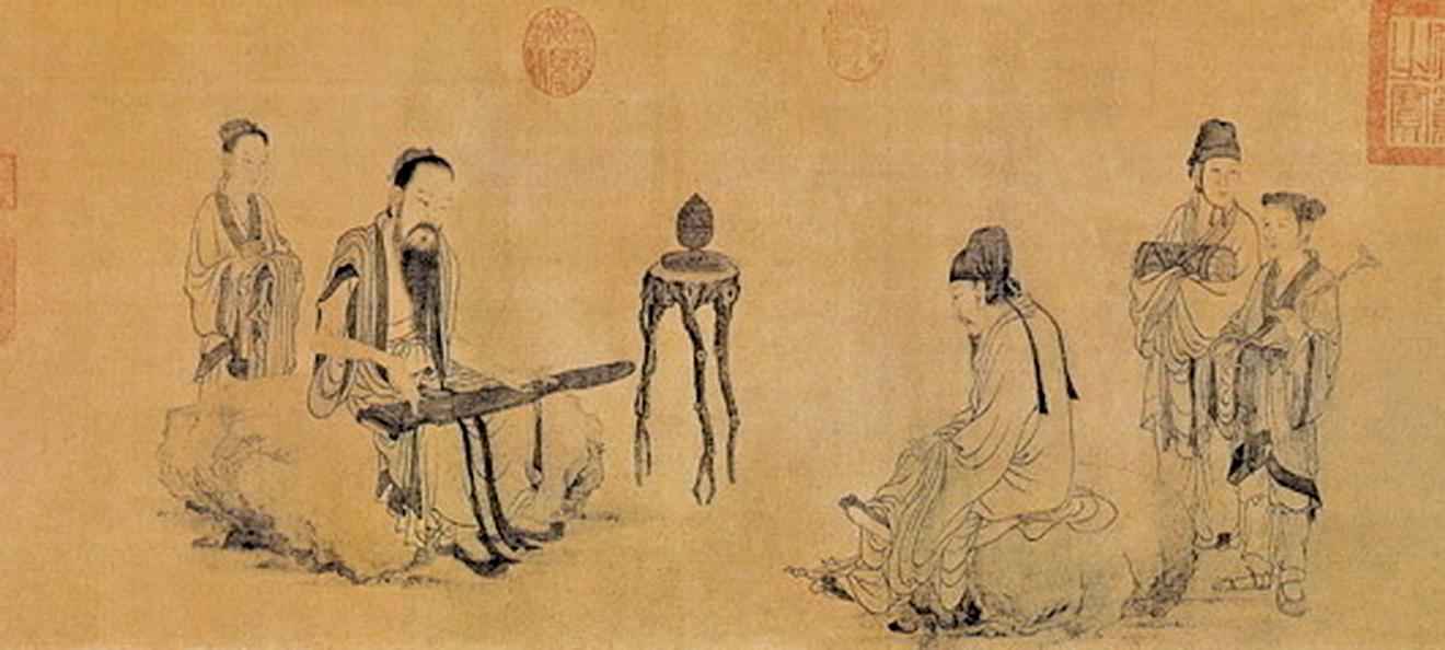 元.王振鵬〈伯牙鼓琴圖〉(公有領域)