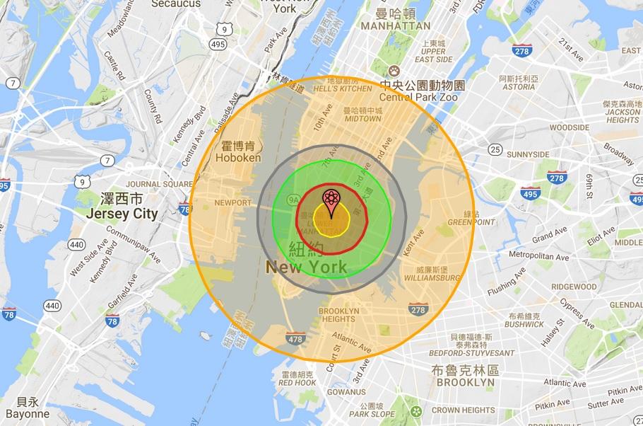 Nuke Map的預估模型顯示,如果北韓以核爆當量15萬噸的核彈攻擊美國紐約,在24小時內至少就會有上百萬人死傷。(Nuke Map網頁擷圖)