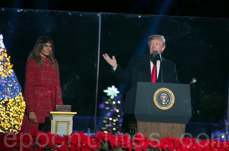 在國家聖誕樹點燈慶典上,特朗普說,「聖誕節不是關於你擁有甚麼,而是關於你是誰。我們每個人都是上帝的孩子,這是真正的歡樂,是聖誕快樂的原因。(李莎/大紀元)