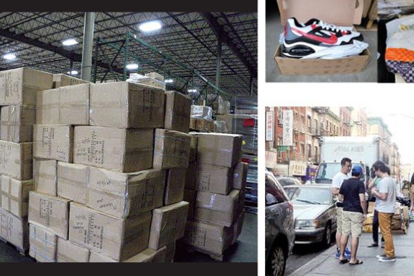 圖左及右上為2014年新澤西海關查獲的假貨,右下圖為紐約唐人街上的假貨零售,經常有遊客被假貨小販拉到一邊。(大紀元合成圖)