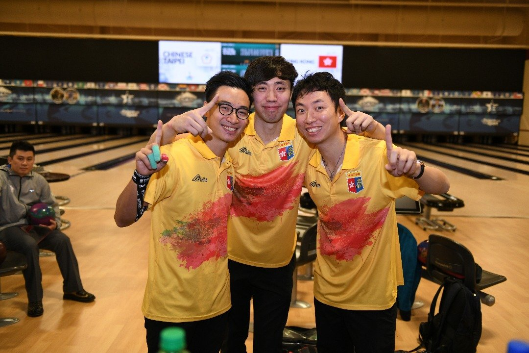 香港隊在世界保齡球錦標賽2017男子三人賽勝出,奪得香港第一面世界保齡球錦標賽金牌。(香港保齡球協會提供)