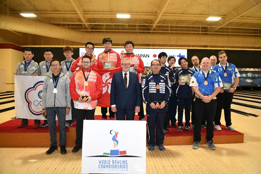 世界保齡球錦標賽2017男子三人賽由港隊奪得金牌,中華台北得銀牌,日本及芬蘭得銅牌。(香港保齡球協會提供)