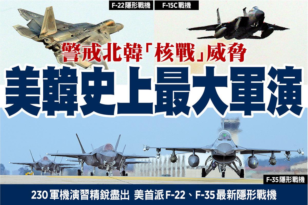 北韓上周試射洲際導彈後,美韓昨日起一連五日舉行「警戒王牌」的年度聯合軍演,派出超過230架飛機,並有1.2萬名美軍士兵參與。美方又出動多架隱形戰機,包括首度派出十八架新型F-35(左一、二)。(美國空軍圖片)