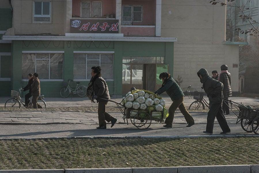 2017年11月22日,北韓咸興市的居民以手推車運送甘藍菜。(ED JONES/AFP/Getty Images)
