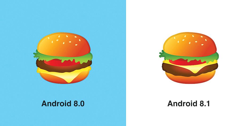 谷歌在新版的Android系統裏修改了漢堡emoji的設計,乳酪改放在了肉餅上面。(Emojipedia)