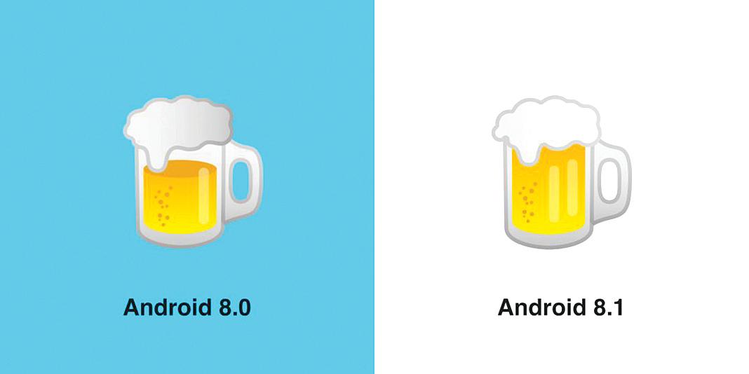 Google在新版的Android系統裏修改了啤酒emoji的設計,將半杯滿上了。(Emojipedia)