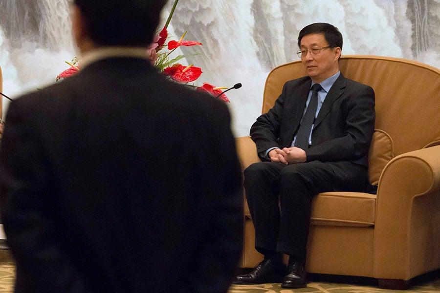 韓正出任政協主席新職的可能性再進一步。(BERTRAND LANGLOIS/AFP/Getty Images)