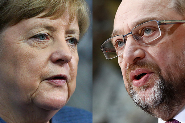 牙買加已成過去,德國繼續大聯合政府?社民黨表示將與聯盟黨嘗試組閣談判,但不求結果。圖為默克爾(左)與社民黨主席舒爾茨。(Getty Images/大紀元合成)