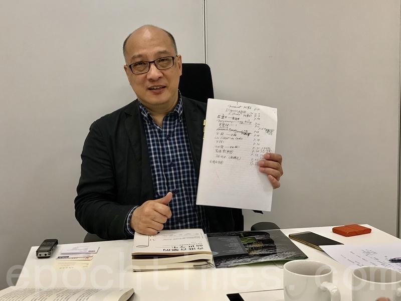 周光蓁教授展示書中「香港音樂大事記(1930-1959)」部份經過費明儀老師親自修改的手稿。