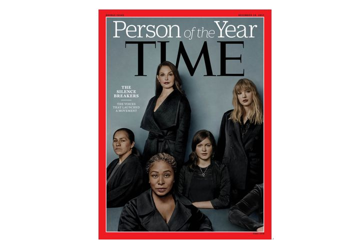 美國《時代》(Time)週刊12月6日評選「打破沉默者」(The Silence Breakers)為2017年度風雲人物。(AFP PHOTO / TIME INC./BILLY & HELLS/HANDOUT)