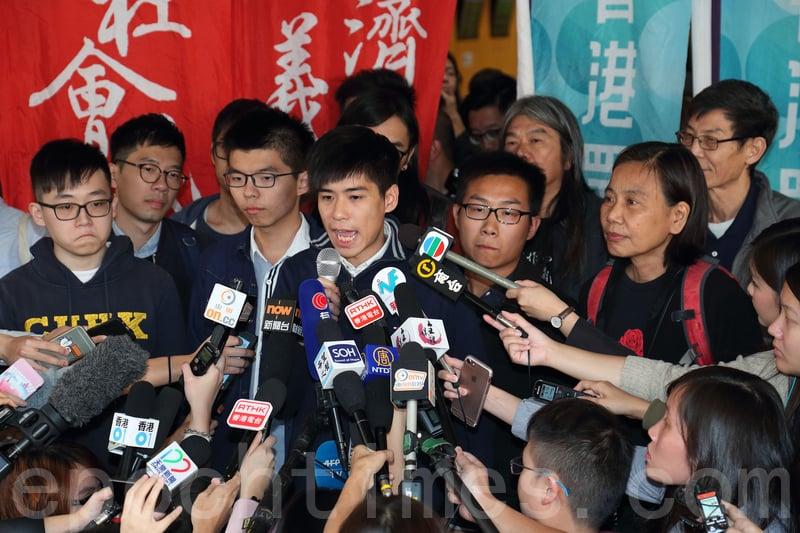 岑敖暉表示,各人已有即時入獄的心理準備,他希望希未來港人一起面對、頂住挑戰,越戰越勇。(李逸/大紀元)