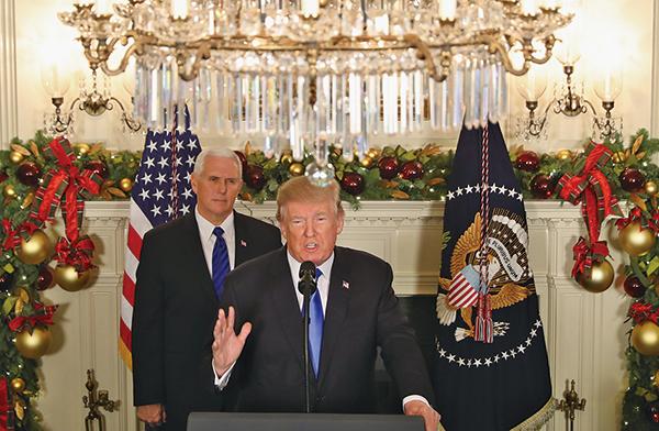 美國總統特朗普12月6日發表演說,宣佈美國正式承認耶路撒冷是以色列的首都,並命令國務院開始將美國大使館從特拉維夫遷往耶路撒冷。(Getty Images)