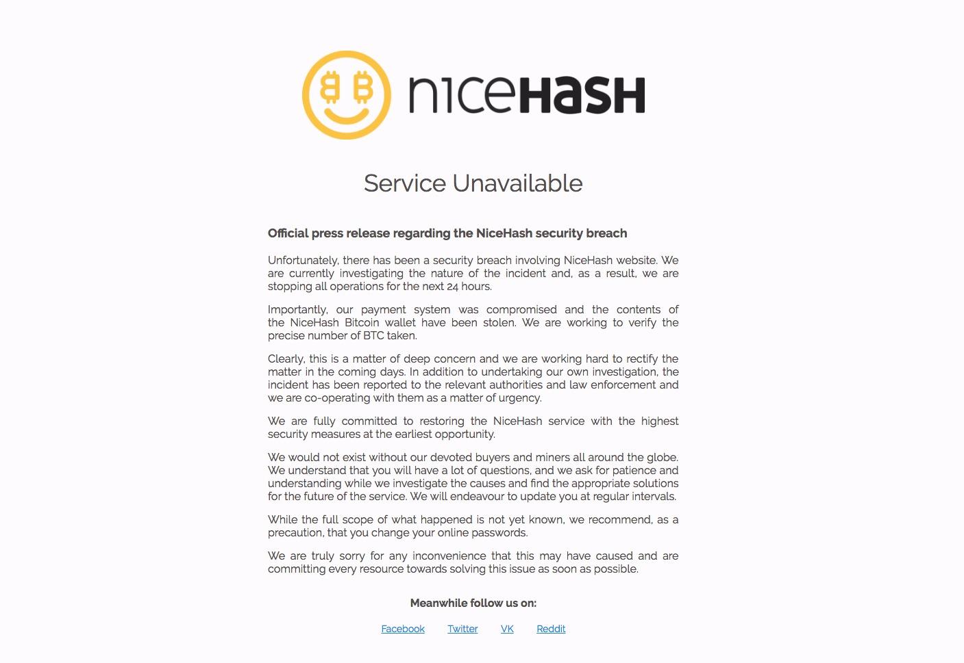 目前,Nice Hash網站仍然無法訪問。(網頁擷圖)