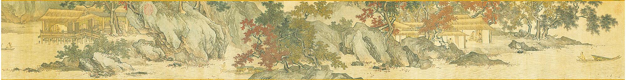 【明】唐寅《溪山漁隱圖》。(台北故宮博物院收藏)