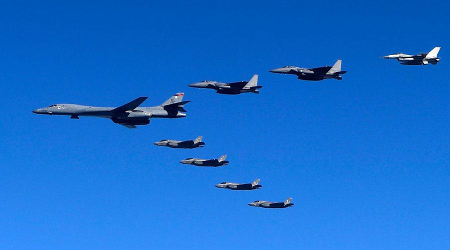 特金會取消,軍事選項再被提起。圖為美韓聯合軍演。(Defense Ministry via Getty Images)