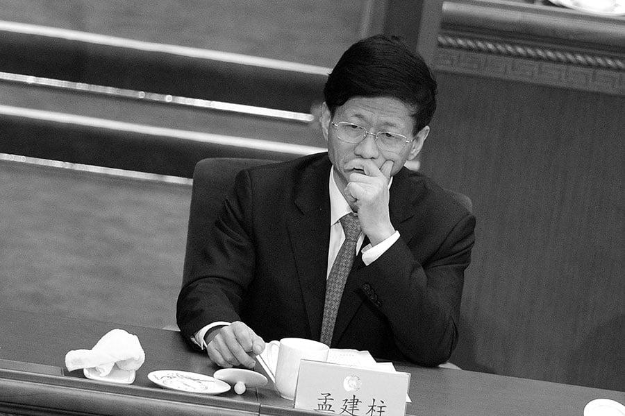 圖為,2016年3月,孟建柱參加中共兩會。(AFP Photo/WANG ZHAO)